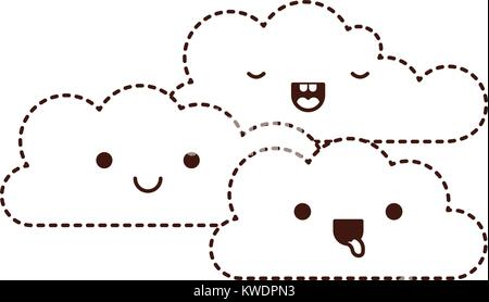 Kawaii Cumulus Clouds Icon Flat In Monochrome Silhouette Stock