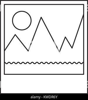 picture icon in monochrome silhouette - Stock Photo