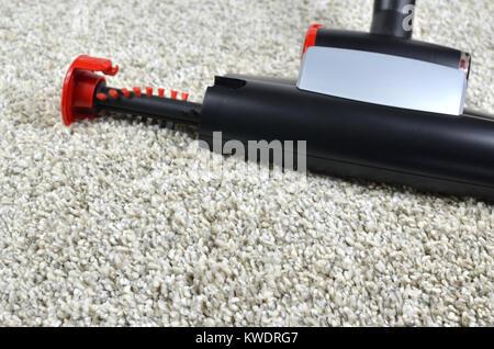 Pet hairs vacuum cleaner brush on grey shaggy carpet surface - Stock Photo