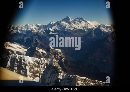 Everest view from plane, Nepal - Stock Photo