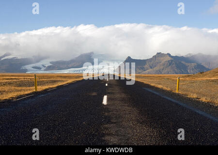 Road to nowhere; desolate Route 1, or the Ring Road, in the Skaftafell National Park area iceland - Stock Photo