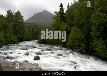 Wild running Little Susitna River on Fishhook road, the road to Hatcher Pass from Willow, Alaska - Stock Photo