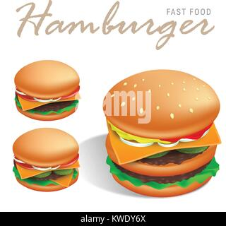 Double american cheeseburger vector illustration with white background - sesame bun, beef steaks, cheese, tomato - Stock Photo