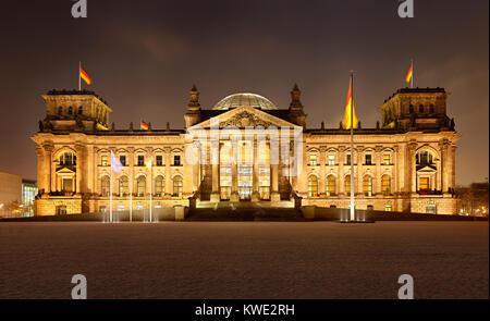 The german Reichstag building in Berlin in a cold winter night. Ultra high resolution double row panorama. - Stock Photo