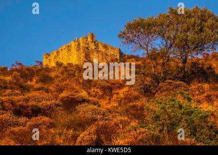ruins of the Volterraio Castle in sunset over Elba Island in the Mediterranean Sea - Stock Photo