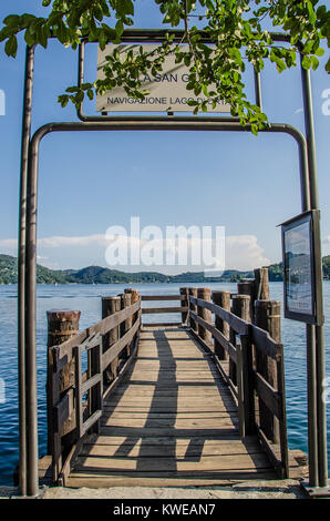 Isola San Giulio or San Giulio Island is an island within Lake Orta in Piedmont, northwestern Italy. - Stock Photo