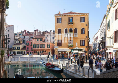 Strada Nova and Campo della Maddalena, Cannaregio, Venice, Italy with crowds of tourists, colorful medieval houses - Stock Photo