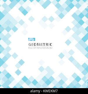 Abstract diagonal line art geometric square blue color pattern background with copy space. Vector illustration - Stock Photo