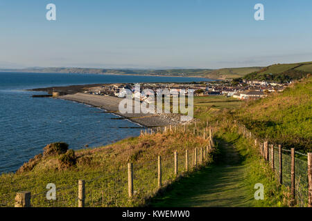 Aberaeron, a village in Cardigan, on the west coast of Wales, viewed from the Welsh Coastal Path - Stock Photo