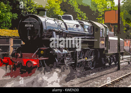 A poster style illustration taken from a photograph of Bewdley Station on the Severn Valley Railway, Bewdley, Worcestershire, - Stock Photo