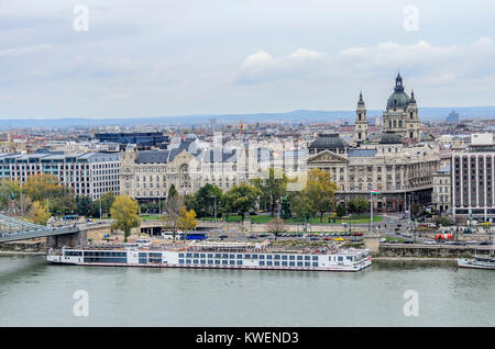BUDAPEST, HUNGARY- 28 OCTOBER 2017: View of the Budapest from a height. - Stock Photo