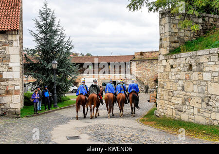 BUDAPEST, HUNGARY- 28 OCTOBER 2017: Cavalry in the Royal Palace of Budapest. - Stock Photo