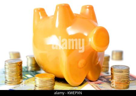 Dead piggy bank, symbolic photo negative interest, Totes Sparschwein, Symbolfoto Negativzinsen - Stock Photo