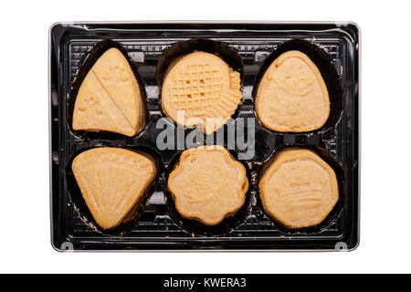 A tin of M&S all butter Shortbread  baked in Edinburgh on a white background - Stock Photo