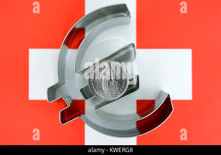 Swiss franc on eurosign and Switzerland flag, ending of the franc-least course to the euro, Schweizer Franken auf - Stock Photo