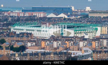 View of Easter Road Stadium home of Hibernian Football Club in Edinburgh, Scotland, United Kingdom - Stock Photo
