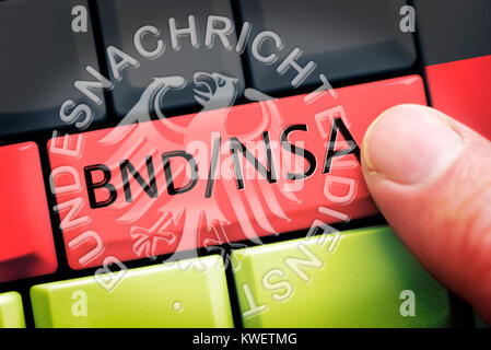 Finger on computer key with NSA and Federal Intelligence Service stroke on German national colours, symbolic photo - Stock Photo
