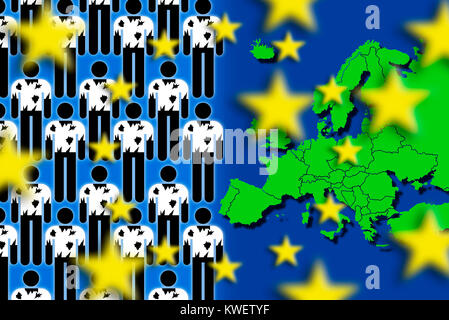 Refugees and European map, symbolic photo refugee's stream to Europe, Flüchtlinge und Europakarte, Symbolfoto Flüchtlingsstrom - Stock Photo
