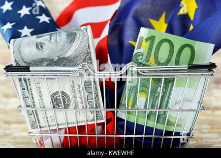 Shopping basket with crumpled up flags of the USA and the EU, symbolic photo TTIP, Einkaufskorb mit zerknüllten - Stock Photo