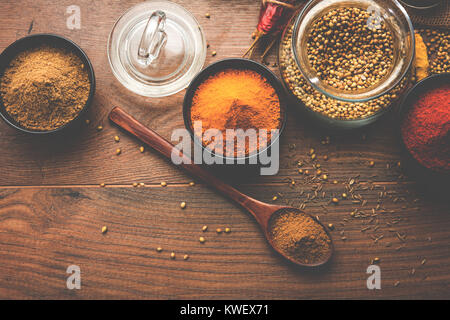 Indian colourful spices. Group photo of four basic Indian spices like raw red chilli, turmeric, coriander and cumin - Stock Photo