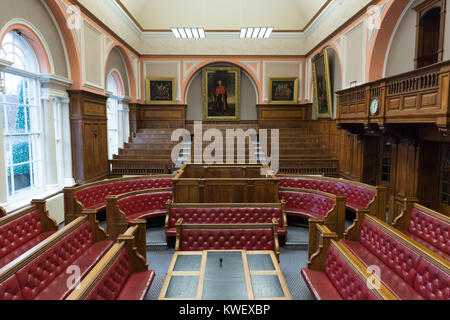 The Guildhall in Carmarthen main Courtroom - Stock Photo