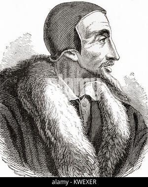 John Calvin, born Jehan Cauvin, 1509 – 1564.  French theologian, pastor and reformer in Geneva during the Protestant - Stock Photo