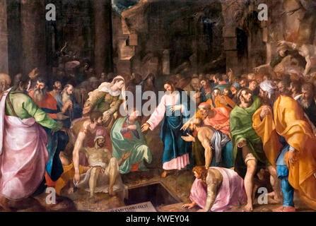 The Raising of Lazarus by Girolamo Muziano (1532-1592), oil on canvas, 1555. - Stock Photo