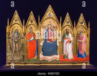 Polyptych showing Madonna and Child with Saints Onuphrius, Nicholas of Bari, Bartholomew and John the Evangelist, - Stock Photo
