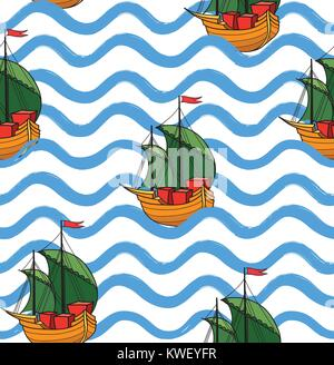 Ocean wave seamless pattern with anchor. Stylish marine water background. Line ornamental sea wallpaperWater wave - Stock Photo
