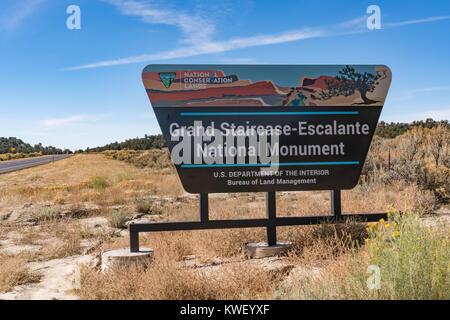ESCALANTE, UTAH - OCTOBER 17, 2017: Grand Staircase-Escalante National Monument Sign along scenic highway route - Stock Photo
