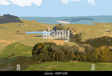 A poster style illustration taken from a photograph of Hadrain's Wall, Northumberland, England, UK - Stock Photo
