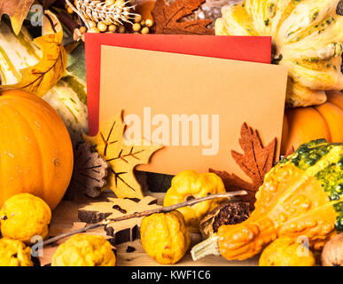 Autumn frame with pumpkins and leaves, greeting cards with text space - Stock Photo
