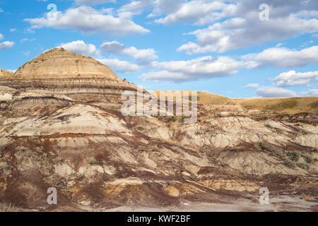 Eroded slopes in Alberta badlands - Stock Photo