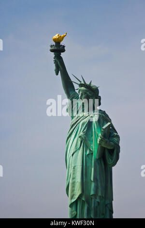 The Statue of Liberty is a colossal neoclassical sculpture on Liberty Island in New York Harbor in New York City, in the United States.