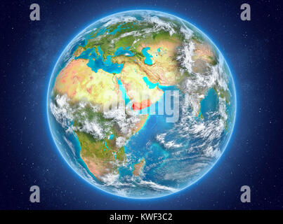 Yemen in red on model of planet Earth with clouds and atmosphere in space. 3D illustration. Elements of this image - Stock Photo