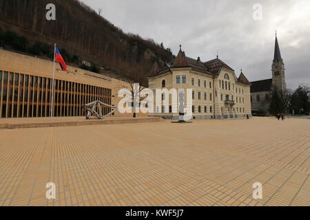 The main square of Vaduz, the capital of Lichtenstein - Stock Photo