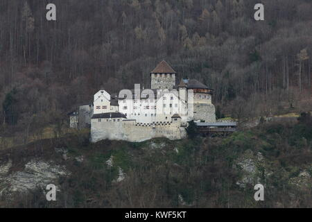 Vaduz Castle is the official residence of the Prince of Liechtenstein, a small landlocked country in Europe bordered - Stock Photo