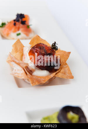 canapes on grey vein marble - Stock Photo