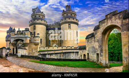 Impressie Pierrefonds medieval castle over sunset,France. - Stock Photo