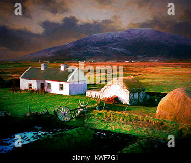 DIGITAL ART: Cottage on Achill Island, Co.Mayo, Republic of Ireland - Stock Photo