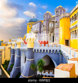 Impressive Pena Palace in sintra,panoramic view,Lisbon province,Portugal. - Stock Photo
