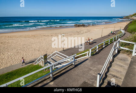 Australia, New South Wales, Newcastle, view of Newcastle Beach - Stock Photo