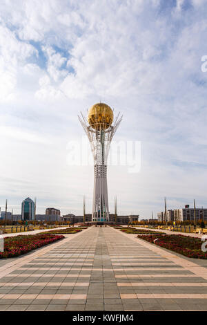 Bayterek, an iconic modern monument and observation tower which is an emblem of Astana, capital city of Kazakhstan - Stock Photo