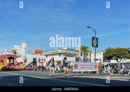 Pasadena,  JAN 1: Indian style, Leishman Public Spirit Award float in the famous Rose Parade - America's New Year - Stock Photo