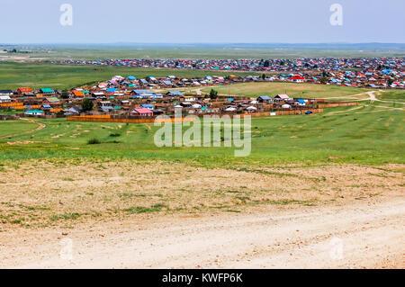 Kharhorin, Central Mongolia -  July 26, 2010: Kharhorin in Ovorkhangai Province near ruins of Karakorum the ancient - Stock Photo