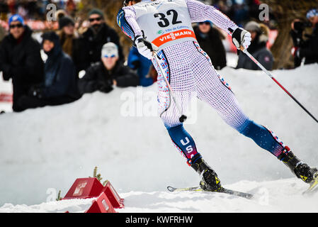 US Ski Team member Simi Hamilton competes in the sprint at FIS World Cup, Gatineau, Quebec, Canada, 2016 - Stock Photo