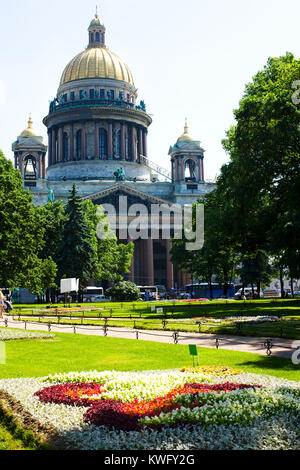St Isaac's Cathedral in sunny summer day, Saint Petersburg, Russia - Stock Photo