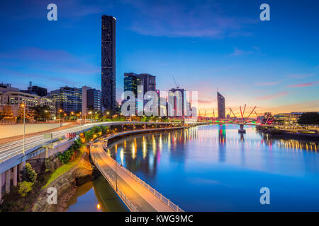 Brisbane. Cityscape image of Brisbane skyline, Australia during dramatic sunrise. - Stock Photo