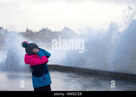Anglesey, Wales, 3rd January 2018. UK Weather. A severe Met Office warning has been issued for the fifth storm of - Stock Photo