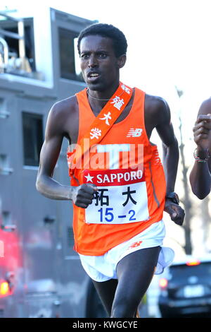 kanagawa, Japan. 2nd Jan, 2018. Workneh Derese (), JANUARY 2, 2018 - Ekiden : The 94th Hakone Ekiden Race, 2nd Section - Stock Photo